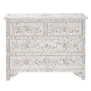Handmade Mother Of Pearl Inlay White Sideboard Cabinet