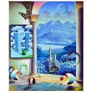Ferjo Castle Before The Mountains Original Painting On Canvas Hand Signed.