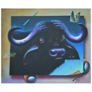 Ferjo Water Buffalo Original Painting On Canvas Hand Signed.