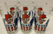 Lot Of 6 Arby's 1976 Woody Woodpecker Collectible Bicentennial Glasses By Lantz