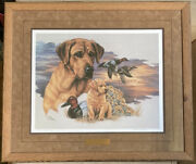 Joanne Graham Art Yellow Lab Hunting Dog Numbered Signed Canvasback Ducks 53/100