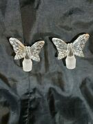 C8336 Perfume Bottle Stoppers Tops Butterfly Set 2 Vintage