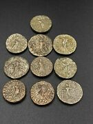 Old Ancient Antique Indo Greco Bronze Silver Plated Bronze Coins