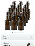 16 Oz Amber Glass Beer Bottles For Home Brewing 12 Packwith Flip Caps
