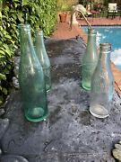 4 Old Bottles Royal Crown Cola, Pluto Water, Dr Pepper And Coca Cola Soda Water