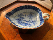 Antique 19th Century Chinese Export Blue And White Saucer Boat / Leaf Dish - Birds