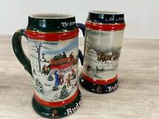 Budweiser Seasons Collectors Series Holiday Beer Stein Mugs 1990 1991 Lot Of 2
