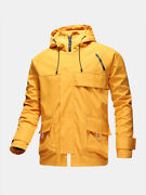 Mens Zip Front Relaxed Fit Drawstring Hooded Waterproof Outdoors Jackets With