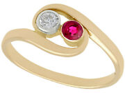Vintage Ruby And Diamond Ring In 14carat Yellow Gold Size N