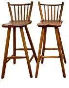 2 Antique Hunt Country Furniture 40 Oak And Pine Bar Breakfast Counter Stools