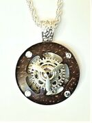 20 Steampunk Pocket Watch Parts Necklace On Silver Rope Chain Sp94