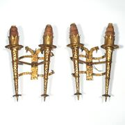 """Pair Of Vintage French Gothic Torch Sconces, """"chateau"""" Style Mid-century Riviera"""