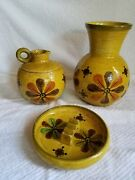 Vtg Mid Century Aldo Londi Bitossi Hand Painted And Signed Floral Pottery Set Of 3