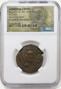 Byzantine Bronze Folles With Bust Of Christ 976-1025 Ce Ngc Certified
