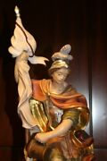 🔆 Nm 16 Wooden Hand Carved Patron Saint Of Firefighter St Florian Statue 🔆