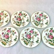 Wedgwood Charnwood Set 6 Bread Hor D' Hoeurve Plates 6 Grn Stamp Butterfly Bee