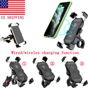 3-in-1 Motorcycle Phone Holder Handlebar Mount Qc3.0 Fast Charging Usb Charger