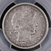 Pcgs Graded Xf40 - United States 1908-o Barber Half Dollar 50 Cents Silver Coin
