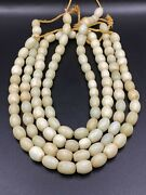 Lot Of Total 4 String Vintage White African Trade Bohemian Glass Beads