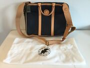 Hunting World Blue W/beige Leather Trim Computer Bag. Made In Italy. Unisex. New