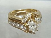 Vintage 14k Yellow Gold Marquise Engagement Wedding Ring Set .65cts T.d.w.
