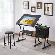 Drafting Table For Artists Drawing Art Craft Desk W/stool Artist Tilting Gift