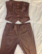 2b Bebe Women Brown Pants And Top Set Club Chic Trendy Sparkle Size 6