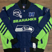 Nfl Apparel Seattle Seahawks Navy And Green Snap-up Racing Jacket Menand039s 5xl