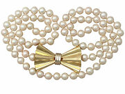 Vintage, Art Deco Style Single Strand Pearl And 18k Yellow Gold Necklace