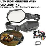Utv Side View Mirrors Led Running Light Amber Turn Signal Lights For Rzr Can-am