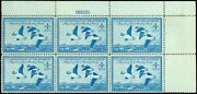 Us. Rw15 Federal Duck Stamp Plate Block Of 6 - Ognh Sup Cv 400.00 Esp88-15