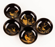 Vintage Japanese Lacquer Birds Maki-e Small Plate Set Of 5 [1]