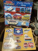 New Never Opened Melissa And And Doug Chunky Wooden Puzzle Vehicles Sound Lot