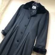Trilogi Collection Girls Long Black Dress Coat Faux Fur Collar And Cuffs Size 7