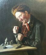 Antique 1886 German Max Kaufmann Oil On Canvas Painting Money Counting Merchant