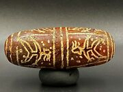 Old Ancient Antique Indo Tibetan Etched Carnelian With Figures Painted Rare Bead