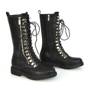 Womens Lace Up Boots Mid Calf Zip Ladies Biker Black Synthetic Leather Shoes 3-8