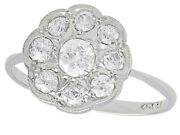 1920s Antique 1.01 Ct Diamond And 18carat White Gold Cluster Ring Size O 1/2