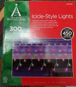 Holiday Wonderland Icicle-style Christmas Lights//300 Multi Color 6 Pack Lot