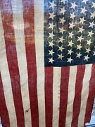 Antique Early 1900s Vintage 48 Star Us Flag On A Wooden Pole