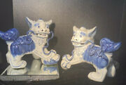 Foo Dog Statues Blue White Chinese Shi Lions Guardian Dogs Chinoiserie Decor