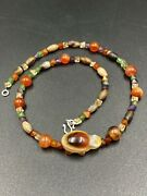 Old Antique Banded Agate Beads Along With Carved Turtle Figure Bead Pendant