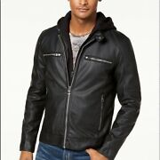 New Guess Leather Jacket Men Size-large Removable Hoodie Lined Interior Black