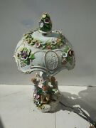 Antique German Porcelain Lamp And Shade Ring Around The Rosie Hallmarked