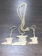 Vintage Sterling Silver Trinidad Earring And Neckless