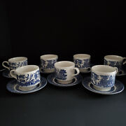 Lot Of 7 Vintage Churchill Blue Willow China Tea Cups And Saucers Free Shipping