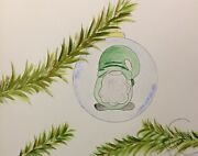 Maria Scalf Watercolor 9x12 Original Painting Signed Ornament Gnome Holiday Pine