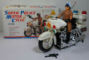 Sun Ta Vtg 80and039s B/o 14and039and039 1/6 Scale Super Police Motorcycle Unused Mib Works