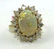 Natural Oval Fire Opal And Diamond Halo Solitaire Ring 14k Yellow Gold 4.63ct