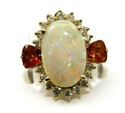 Natural Oval Fire Opal And Diamond Halo Solitaire Ring 14k Yellow Gold 4.74ct